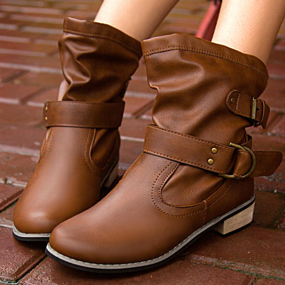 Women's Fashion Autumn Winter Casual Solid Martin Boots