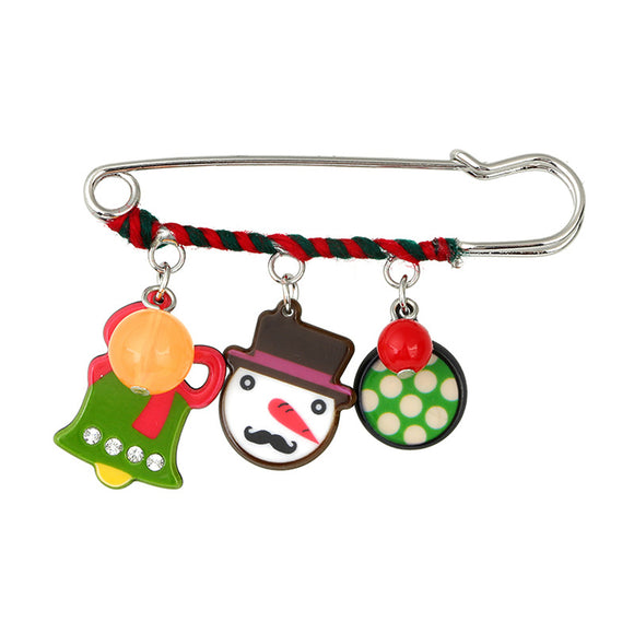 Christmas Gifts Candy Snowman Christmas Bell Alloy Acrylic Pin Brooch