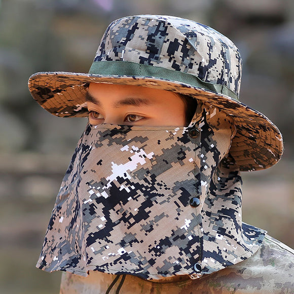 Men's Outdoor Camouflage Visor Fishing Cap  With Mask