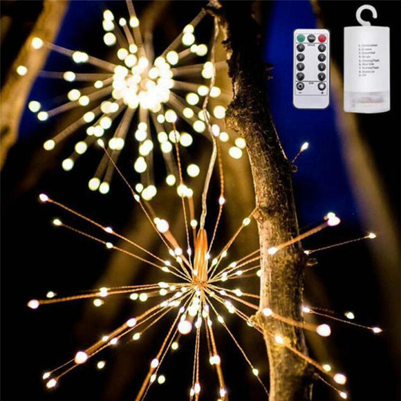 Remote Control Diy Colorful Explosion Star Led Fireworks Light Copper Wire String