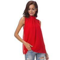 Women Casual Tank Tops Chiffon Blouse Sleeveless Shirt