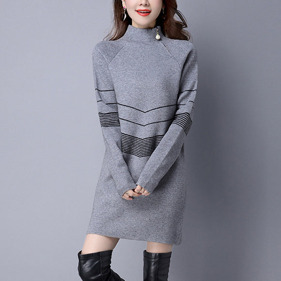 Zipper Long Sleeve Knitted Casual Knitted Dress