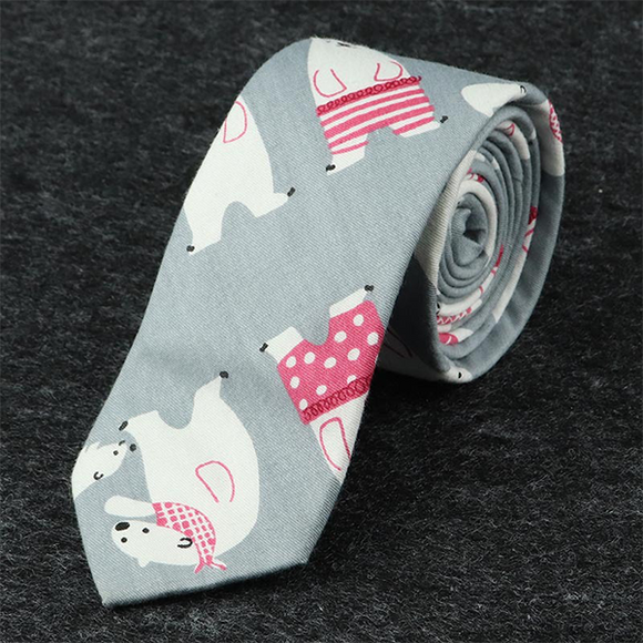 6cm Men's Casual Tie Narrow Edition Cartoon Bear Tie