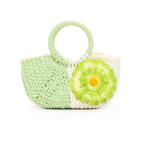 Women Splice Color Weave Flowers Hand Bag Garden Style Summer Sun Flower Bag