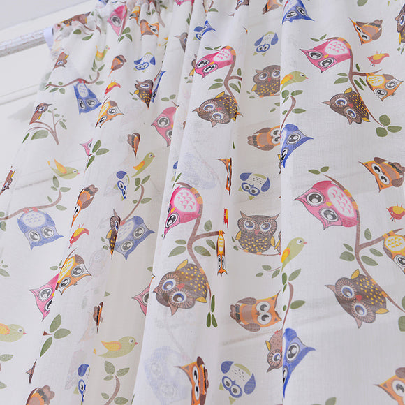 Rod Owl printed Cotton and Linen Window Screening Bedroom Curtains