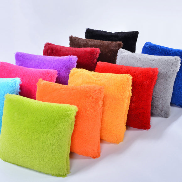 43*43cm Pillowcase With Plush Pure Color Cushion Home Textiles