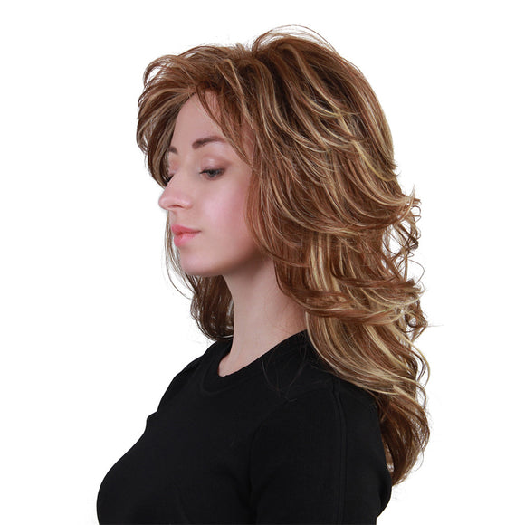 Long Layered Fluffy Elegant Human Hair Wig with Bang