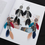 1 Pair Vintage Chain Tassel Pendant Feather Earring Romantic Charm Dreamcatcher Earrings Jewelry
