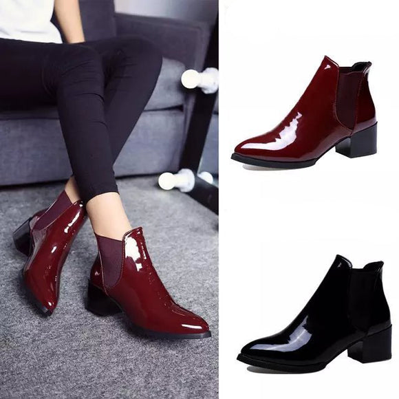 Women's Fashion Spring Autumn Leather Boots Martin Boots
