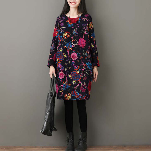 Winter Thickened Fleece Printed Bottom Vintage Dress