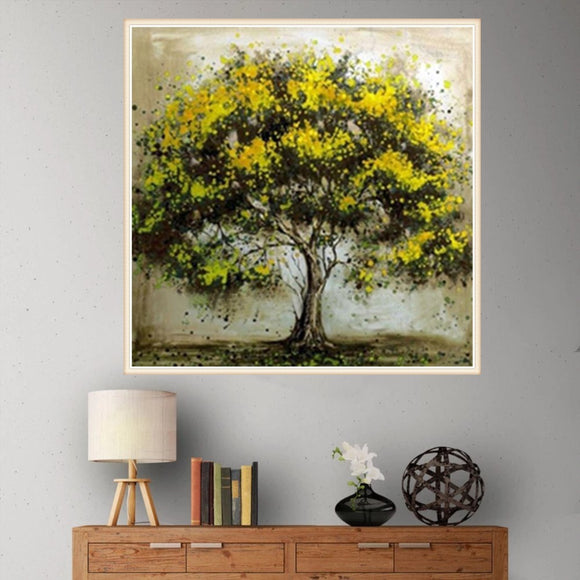 5d Diy Diamond Painting Yellow Color Tree Cross Stitch Handicraft Ornaments Mosaic Painting