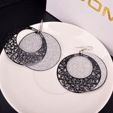 1 Pair Retro Court Irregular Hollow Out Frosted Earrings Fashion Jewelry