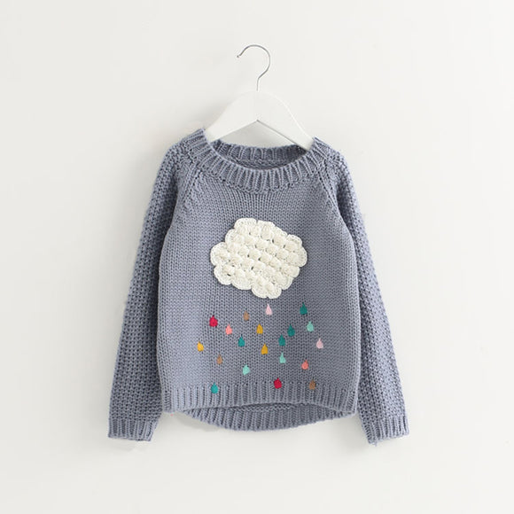 Kids Floral Round Neckline Long Sleeve Tops Sweater