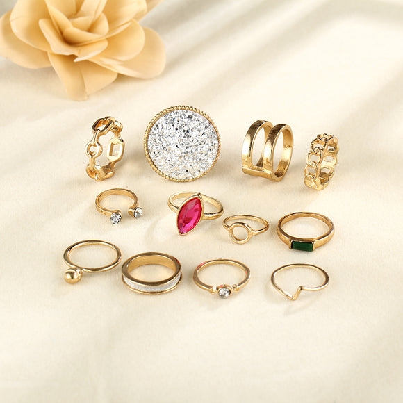 12pcs/set Women Retro Carving Rhinestone Insert Rings Set