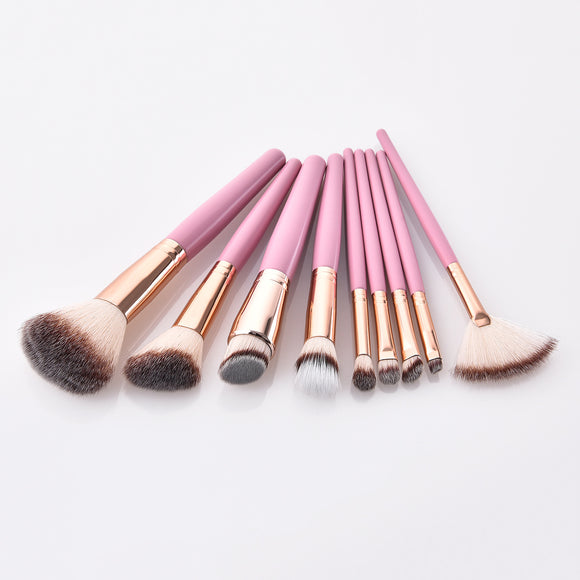 9Pcs  Pro Pink Handle Professional Makeup Brush Sets