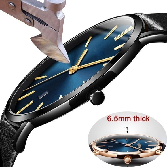 Fashion simple ultra-thin glass mesh belt quartz watch for Men