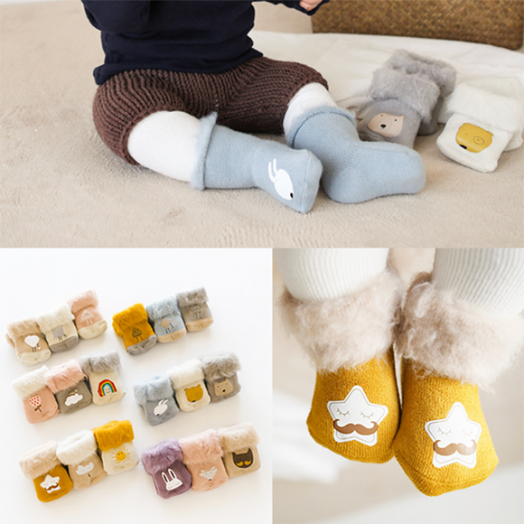 3 Pairs/pack Baby Thick Warm Socks Children Winter Cartoon Socks