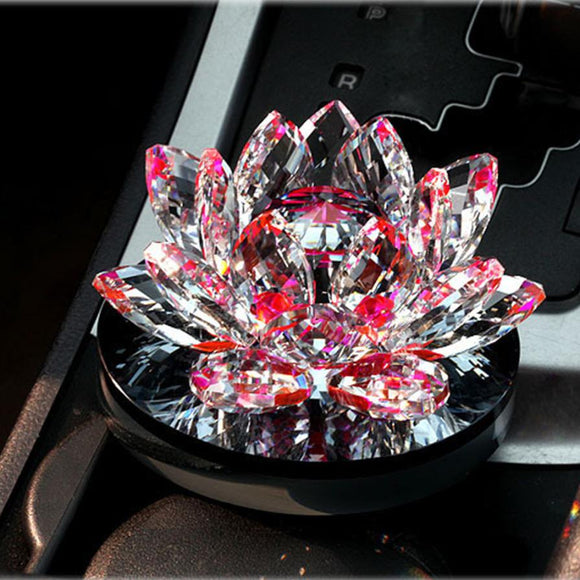 Car Wedding Favors Colorful Blooming Crystal Lotus Car Empty Perfume Bottle For Valentines Gifts