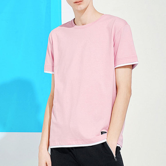 NEER Men's Fashion New Pink Cotton Mixed Colors T-shirt