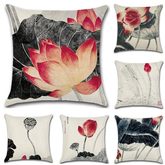 Chinese Style Linen Hug Pillowcase Lotus Sofa Cushion Pillowcase Home Textiles