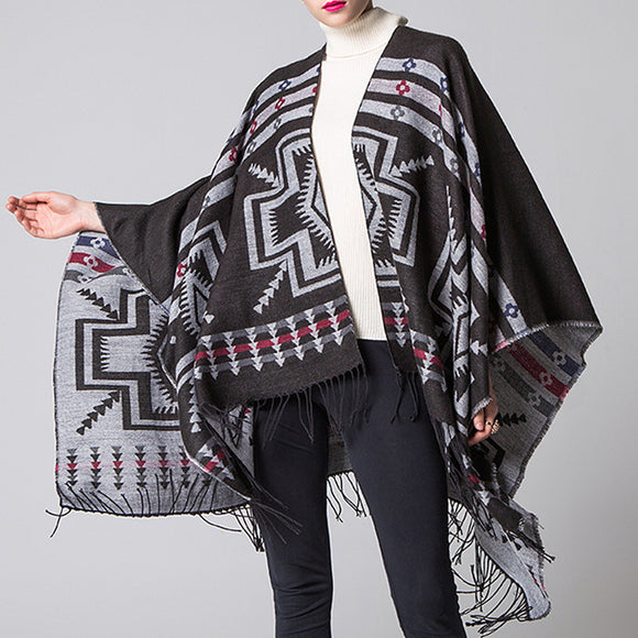 Woman Autumn Winter Printing Warm Tassel Scarf