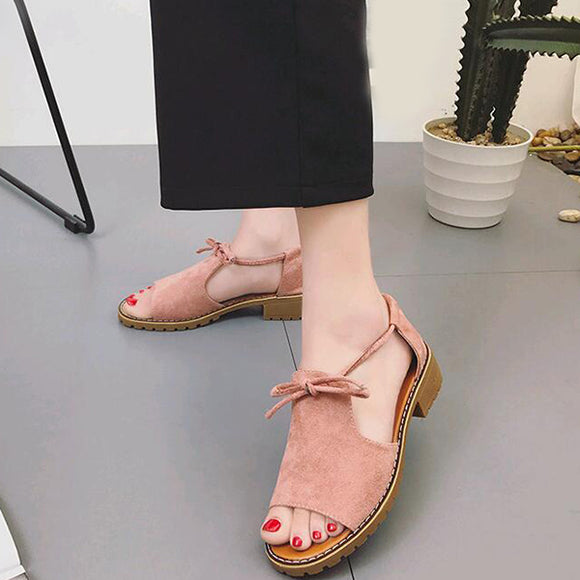 New Thick with Sandals Female Summer Fish Mouth Buckle Roman Shoes Low-heeled Women Sandals