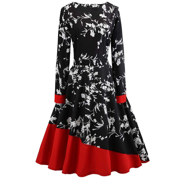 Long Sleeve Stitching Fashion Print Round Collar Vintage Dress