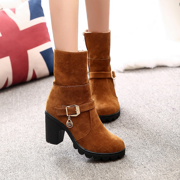 Women's Fashion Plus Size Autumn Winter Boots Solid Martin Boots