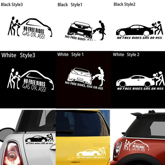 20*8CM GAS OR ASS No Free Rides Funny Vinyl Decals Car Sticker Euro JDM for Window Bumper Body