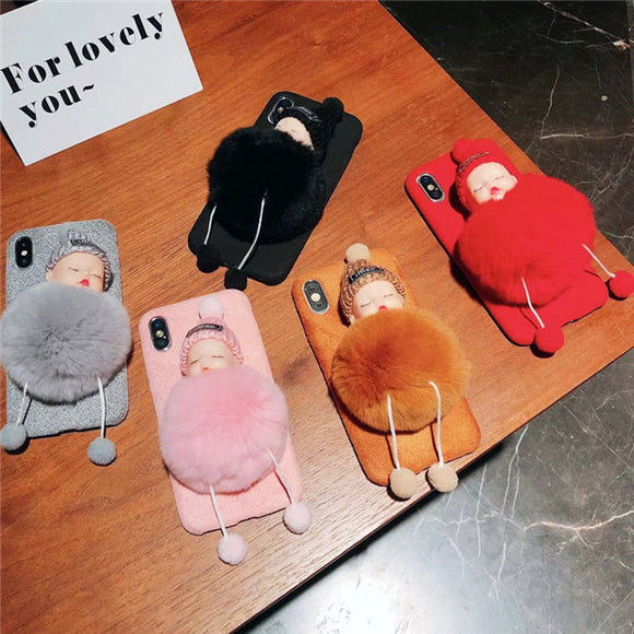 Autumn And Winter Cartoon Plush Doll Phone Case For Iphone