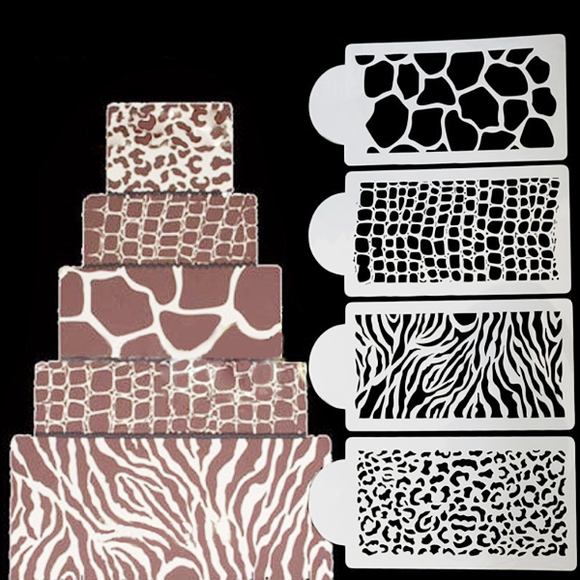 Zebra Leopard Snake Skin Crocodile Skin Coffee Cake Spray Mold 4pcs/set