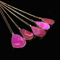 1 Pc Special Chain Natural Quartz Stone Pendant Necklace Agate Druzy Raw Gemstone