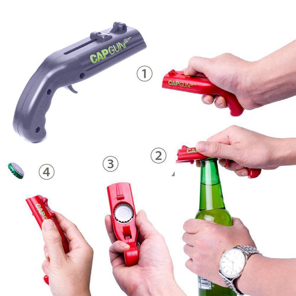 Cap Gun Pistol Launcher Shooter Bottle Opener Bar Beer Opener Kitchen Helper