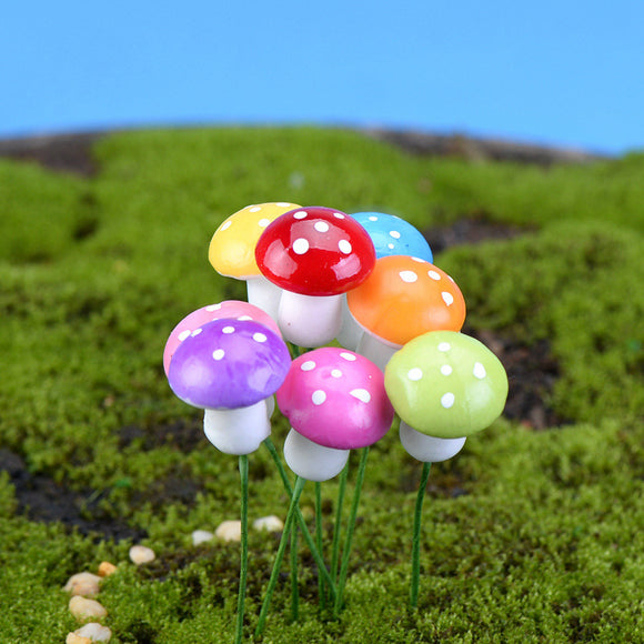 8pcs/set 2cm Mixed Color Artificial Mini Mushroom Miniature Glass Container Resin Crafts Decoration