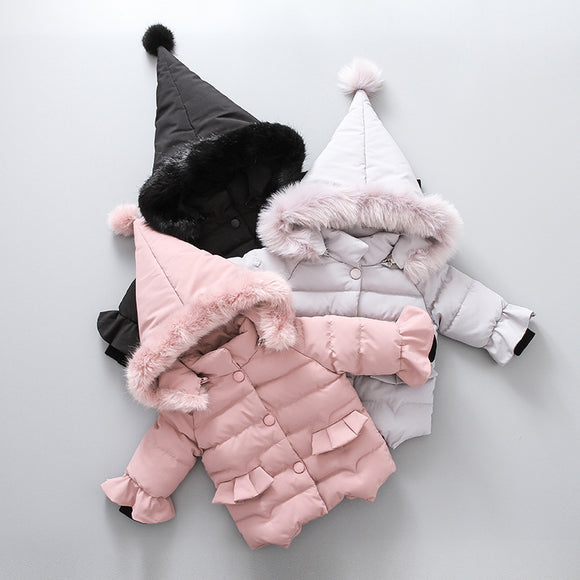 Girls' Basic Cute Solid Faux Fur Hooded Down Coats