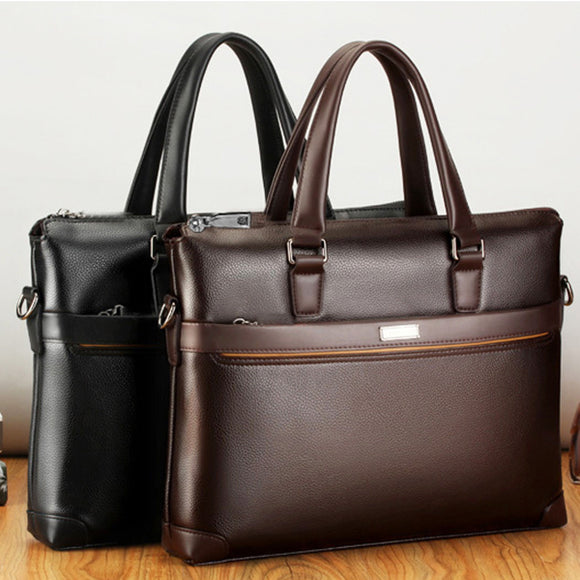 Men's Business Pu Leather Zipper Crossbody Shoulder Bag Briefcase Laptop Bag