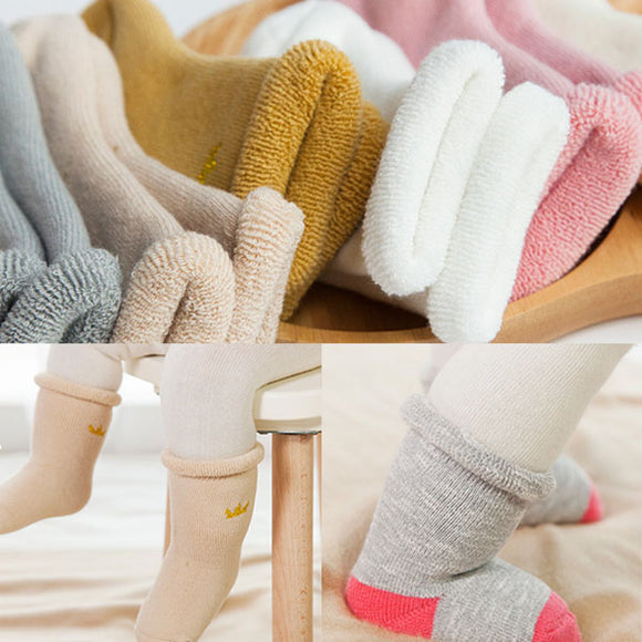 3 Pairs/pack Baby Warm Cotton Blend Socks Children Winter Socks