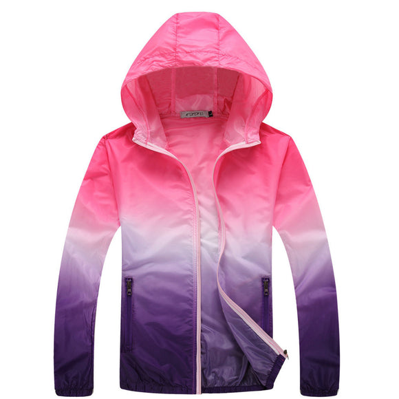 Summer Gradient Sunscreen Coat Jacket Unisex Windbreaker Waterproof Thin Hooded Zipper Quick Drying