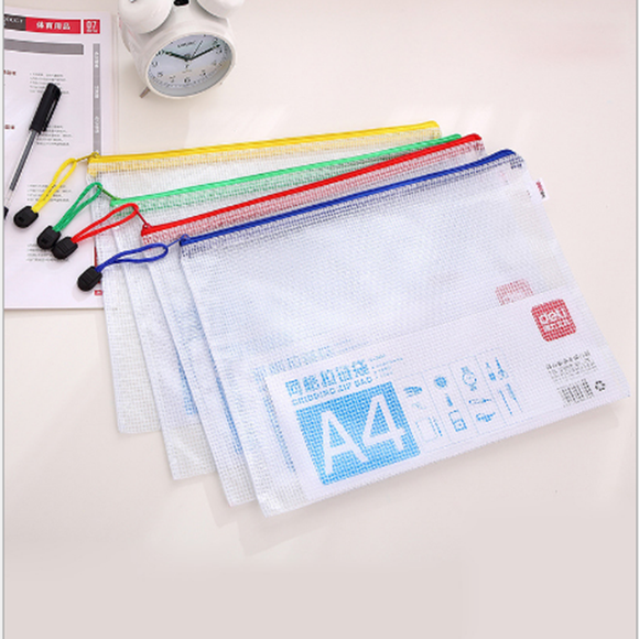 A4 Grid Zipper Document Bag Waterproof File Bag Office Supplies(random Color)