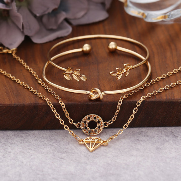 4pcs/set Women Luxury Leaf Shape Opening  Multilayer Bracelets
