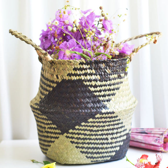 Seaweed Hand Woven Foldable Plant Flowerpot Home Decor Folding Storage Basket