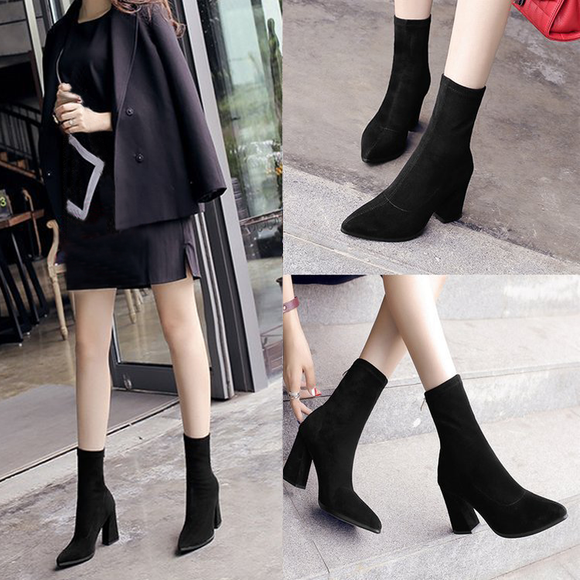 Women's Fashion Autumn Winter Zipper Suede Elastic Boots Solid Martin Boots