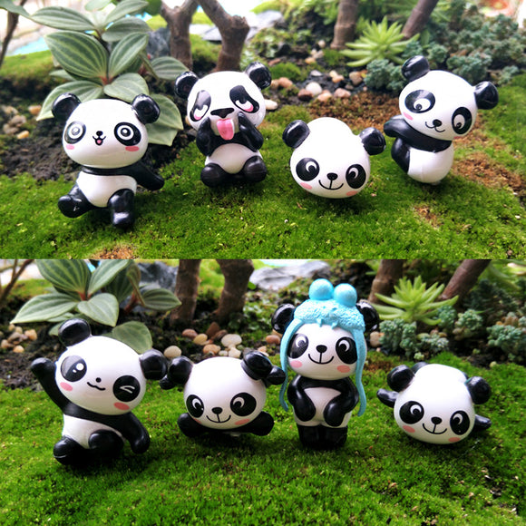 8pcs/set Cute Panda Moss Micro Landscape Resin Glass Container Statue Decoration