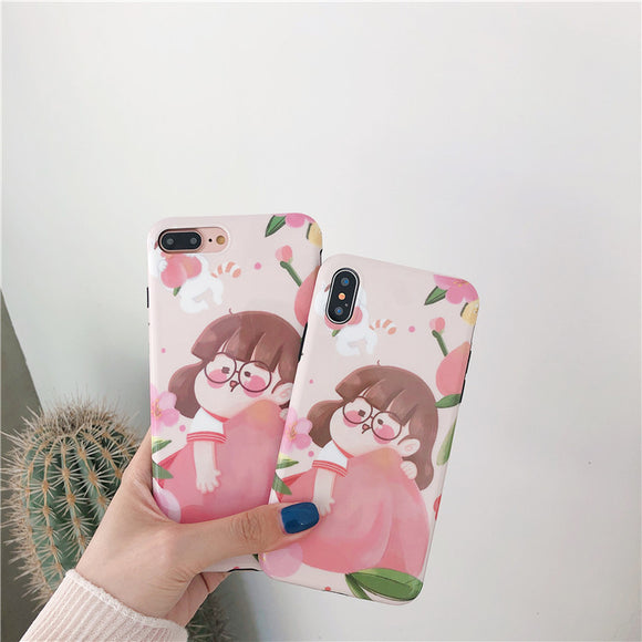 Lovely Peach Girl Soft Shell Phone Case For Iphone