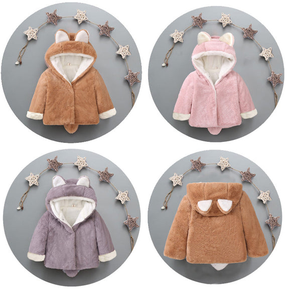 Cute Kid's Thicken Plush Faux Fur Warm Coat