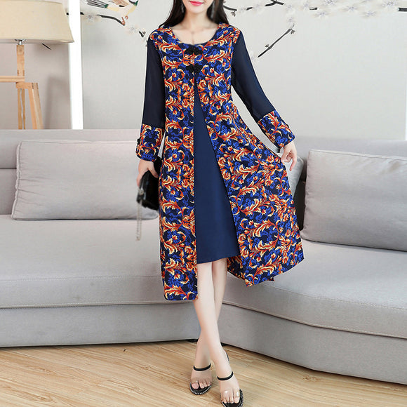 Spring Autumn New Arrival Vintage Loose Printing Dress