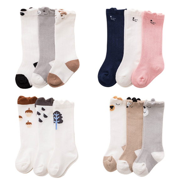 3 Pairs/pack Baby High Tube Anti Slip Dispensing Cotton Blend Socks Children Socks