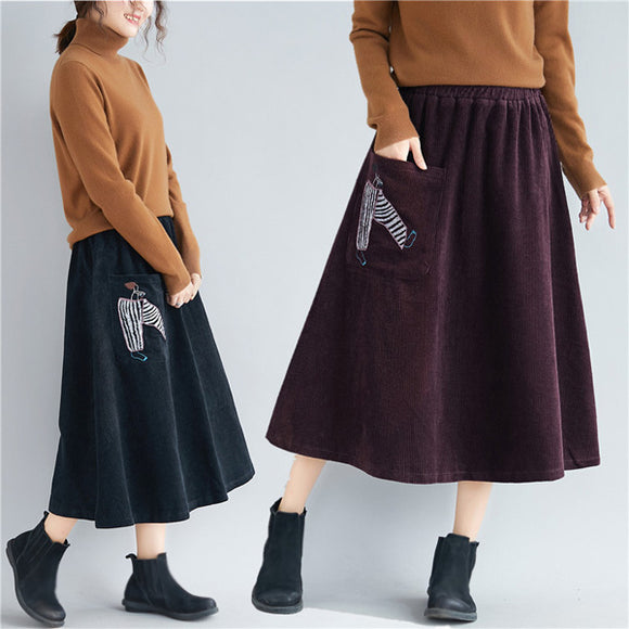 Women Autumn And Winter Corduroy Loose Embroidered Skirt