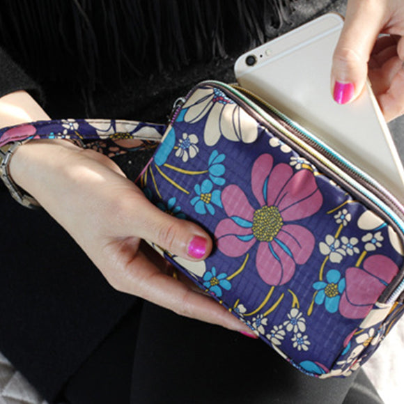Women Hand Bag Fabric Long Wallet Canvas Three-Layer Zip Coin Purse