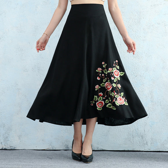 Autumn Ethnic Style Cotton Blend And Linen Embroidery Large Swing Skirt